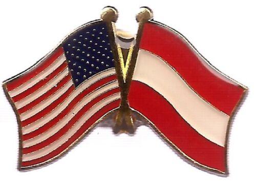 USA American Austria Country Friendship Flag Bike Motorcycle Hat Cap lapel Pin