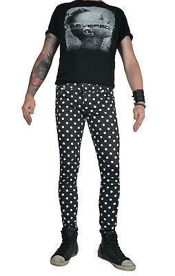 TRIPP WHITE BLACK STAR EXPLOITED SKINNY JEANS ROCKER UNISEX FIT PUNK ROCK PANTS