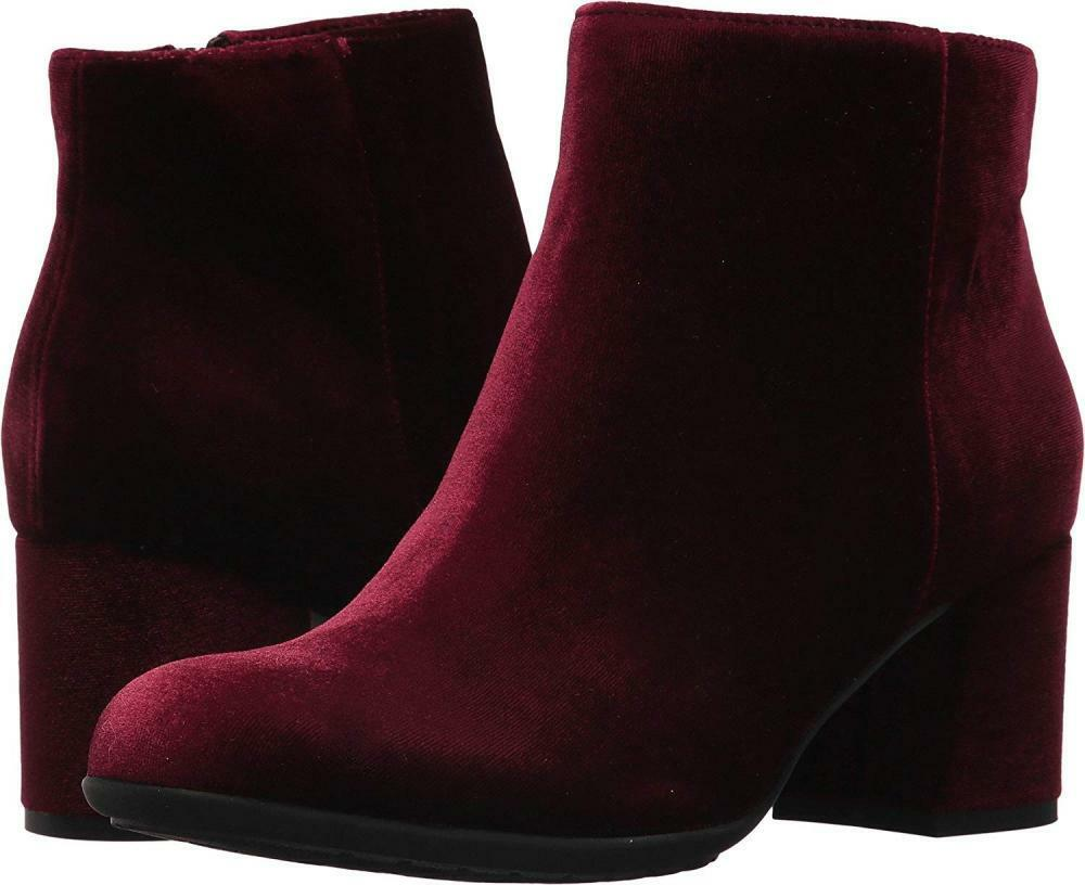 Earthies Womens Apollo Boot Ankle Velvet Leather Bootie Chunky Heel Casual