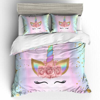 Unicorn Horses Latest  Duvet Quilt Cover Bedding Set For KIds /& Adult All Sizes