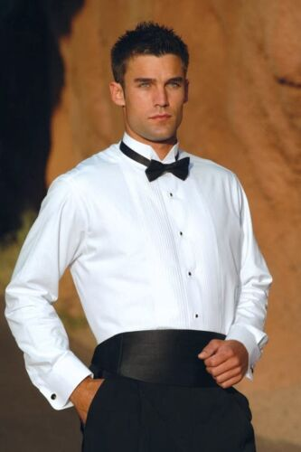 NEW FREE GOLD STUDS LINKS 100/% COTTON WHITE FRENCH CUFF WING COLLAR TUXEDO SHIRT