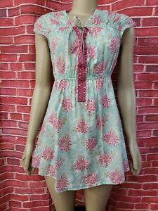 Free People Blue Cotton Women's Sz M Summer Floral TOP OR Mini Dress NEW #C