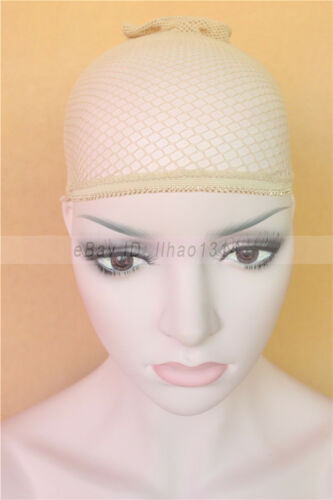 Beige 2PACKS//LOT/_ Unisex Hair Nets Fishnets Wig Cap Stretchy Wig Wearing Black
