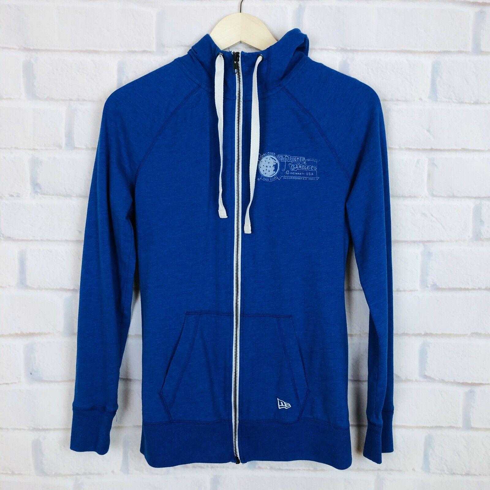 New Era Womens Size S Blue Drawstring Hoodie Full Zip Proctor & Gamble Logo Top