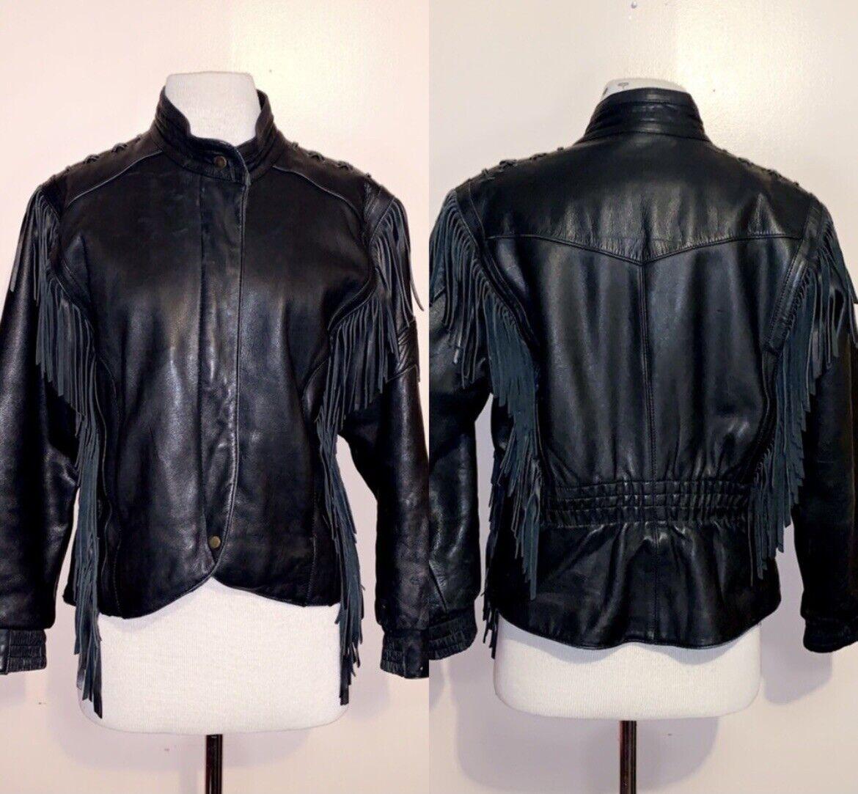 HARLEY DAVIDSON Black Fringed leather moto Jacket - image 3