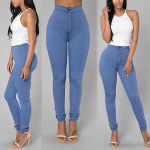 Women Pencil Stretch Casual Denim Skinny Jeans Pants High Waist ...