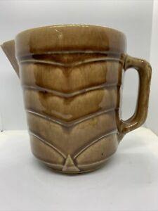 Vtg 1930's  Brown Glaze Pottery Ceramic Creamer Syrup Pitcher Chevron Pattern