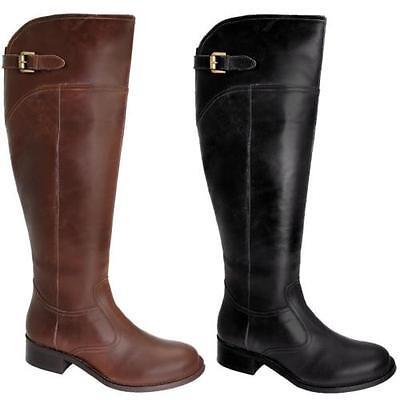 Damen Kniehoch Echtleder Stiefel Damen Klein Absatz Reitsten Stil Schuhe | eBay