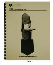 Rockwell Delta 14 Metal Bandsaw 28 300 28 380 Instruction Amp Parts Manual 1877