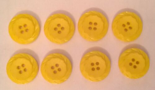 8 x 22mm Large Yellow Round Plastic Buttons B0567