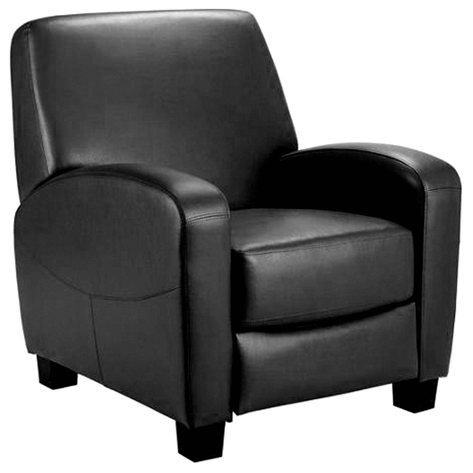 Home Theater Recliner Black Faux Leather Lounge Club Chair ...