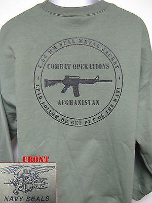 NAVY SEAL HOODED SWEATSHIRT// AFGHANISTAN COMBAT OPS// OD GREEN// VETERAN//  NEW