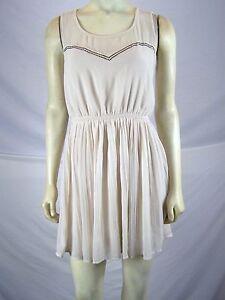 Be-Bop-Tan-Beige-Sleeveless-Studded-Pleated-Dress-Juniors-Size-Small-3-5
