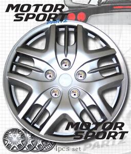 "Wheel Cover Replacement Hubcaps 15/"" Inch Metallic Silver Hub Cap 4pcs Set #025"