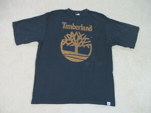 VINTAGE-Timberland-Shirt-Adult-Large-Black-Brown-Spell-Out-Cotton-Mens-90s