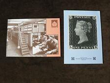 2 National Postal Museum Postcards: Penny Black, Sorting Machine, London 1989