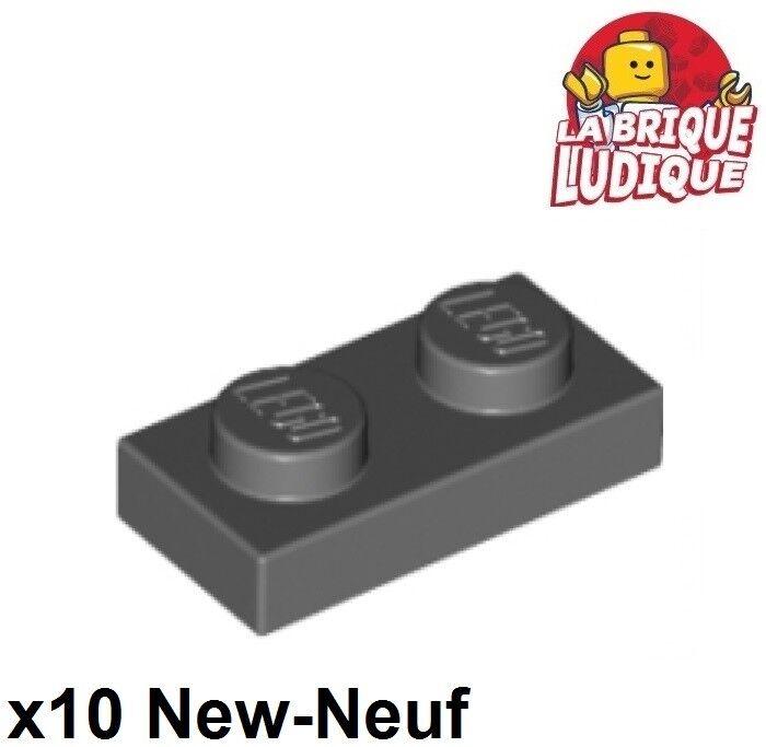 gris x 2 AC8 lumière ancien LEGO-Moteur 4229 Bandes 2 x 2 Fine plaque supérieure