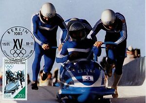 CARTE-POSTALE-MAXIMUM-GERMANY-ALLEMAGNE-SPORT-OLYMPIADE-1988-BOBSLED