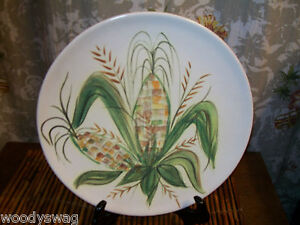Corn-on-Cob-Vintage-Collector-Display-Plate-12-inch-Art-Pottery-Display-Farmer