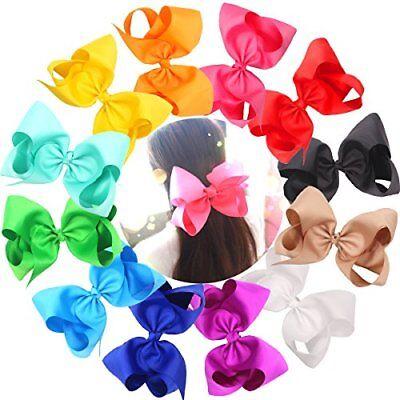 "12Pcs Hair Bows For Girls 6/"" Big Boutique Bow Alligator Clips Grosgrain Ribbon A"