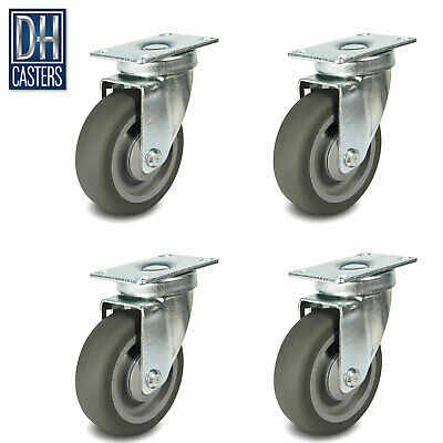 """DH Casters 3-1//2/"""" x 1-1//4/"""" Swivel TPR Rubber Furniture Table Cart Benches 1"""