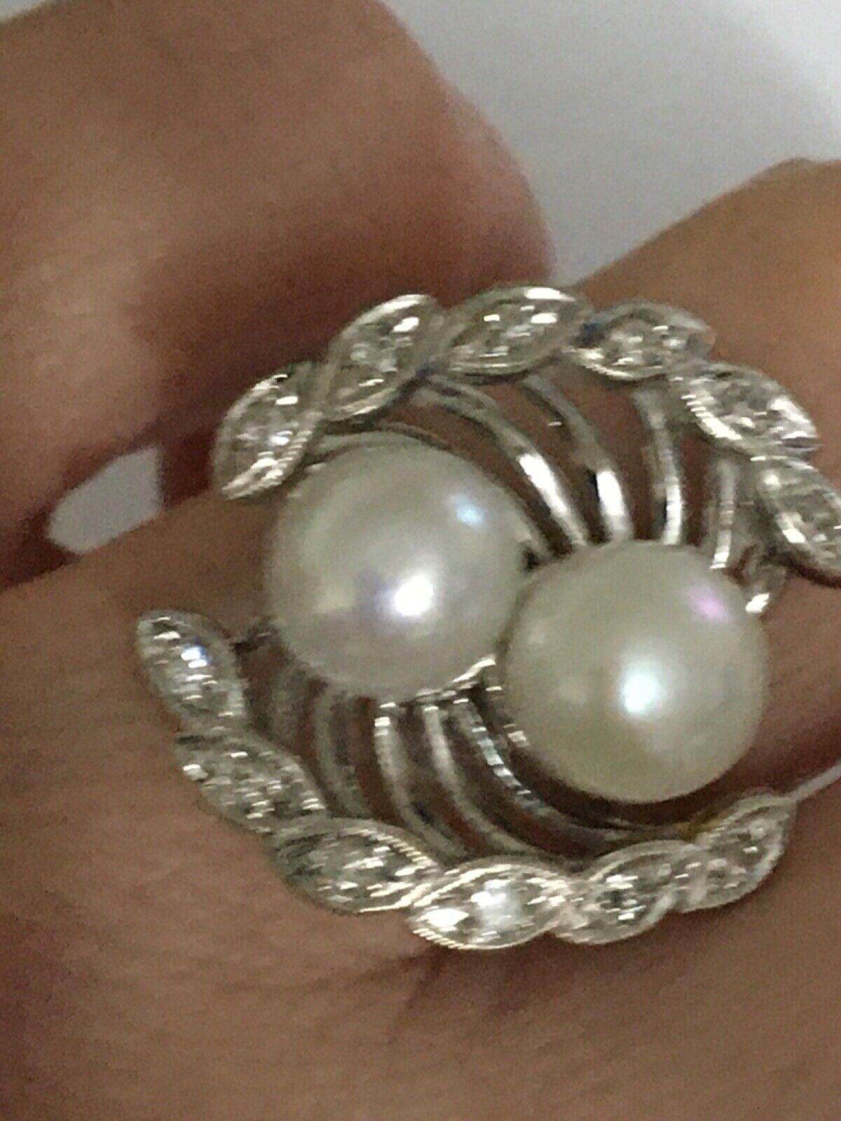 Vintage pearl and diamond Ring, Pearl and Diamond… - image 4