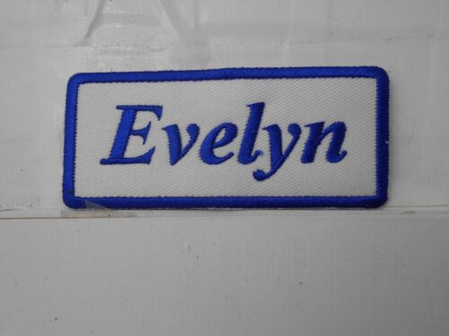EVELYN  NEW EMBROIDERED  SEW IRON ON NAME PATCH BLUE ON WHITE