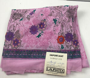 Vtg-70s-Lauratex-Fabric-3-Yds-w-Tag-Pink-Purple-Polyester-Floral-Greek-Key