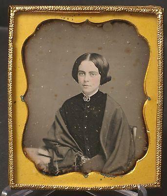 F59831~ Pretty Valentine Woman Fine Detail Shawl Sealed Daguerreotype 6th Plate