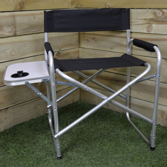 Black Folding Directors Chair with Side Table for Camping / Festivals / Outdoor
