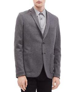 Calvin Klein Mens Knit Blazer Heather Gray Size XL Notched Two Button $198 009