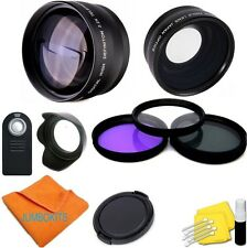WIDE ANGLE LENS + ZOOM LENS + REMOTE +3 FILTERS FOR PANASONIC LUMIX G7 G-7 46MM