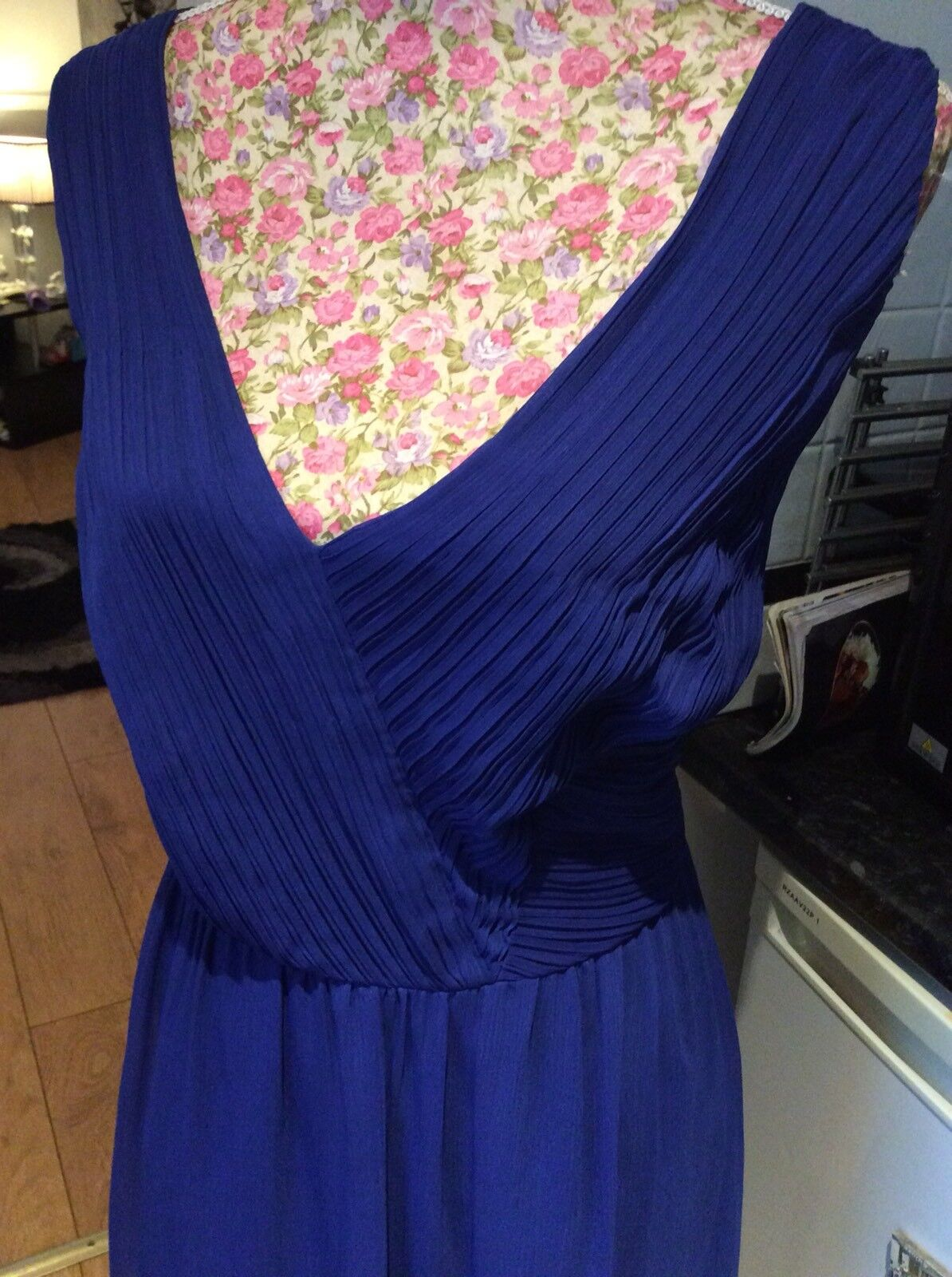 Monsoon Cobalt bluee Ruched Dress Size 20 Ec  Holiday