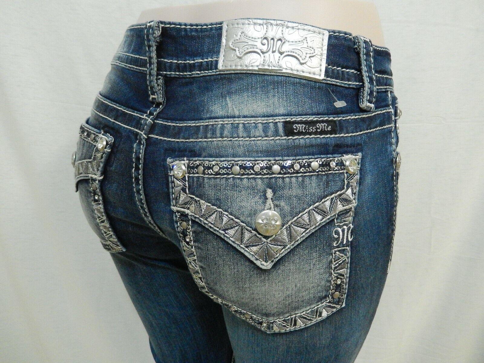 NWT Miss Me L3222B Mid-Rise Chloe Boot Cut Jeans Medium bluee Size 27 x 34