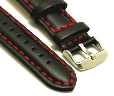 22mm Black HQ Genuine Leather Red Thick Stitching Watch Band Stainless Buckle