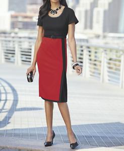 Ashro Sonya Dress Red Black Faux Leather Trim with Belt Size 2X PLUS NEW NWT