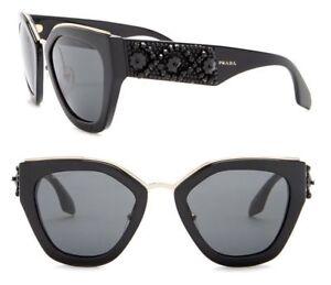 dee8f4ac3255 PRADA ORNATE Women Sunglasses SPR 10T Shiny Black with Beads Grey ...