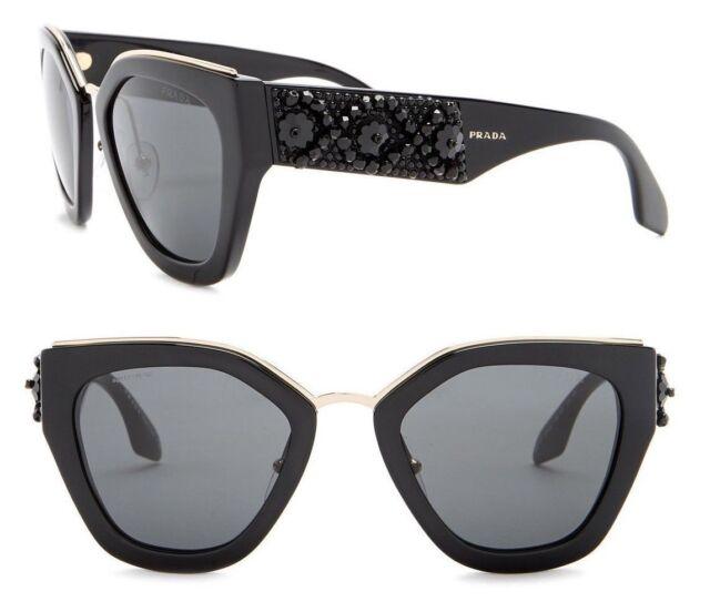 a36c4df5e83 PRADA ORNATE Women Sunglasses SPR 10T Shiny Black with Beads Grey Lenses  PR10TS