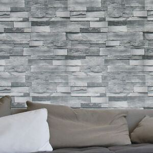 Image Is Loading Vintage Faux Stacked Brick 3D Effect Texture Wallpaper