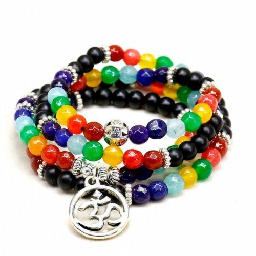 Mala Bracelet 108 Beads Buddhist Yoga Prayer Necklace Natural 6mm 7 Chakra OM