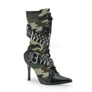 "3.75"" Heel Pointy Toe Camo Buckle Bullet Calf Boots Rocker Goth Punk Glam 6-12"