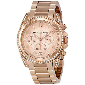 NEW-Authentic-Michael-Kors-Blair-Rose-Gold-Tone-Chronograph-Ladies-Watch-MK5263