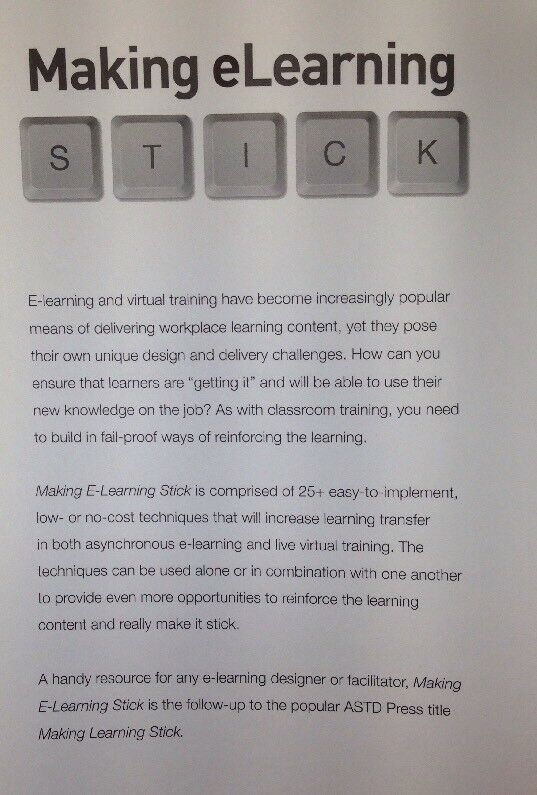 Making e-Learning Stick by Barbara Carnes (2012, Paperback) for sale online  | eBay