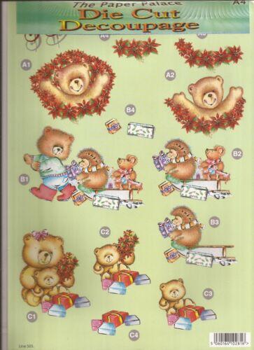 051-503 Christmas Bear and Friends A4 Die Cut 3D Decoupage Sheet