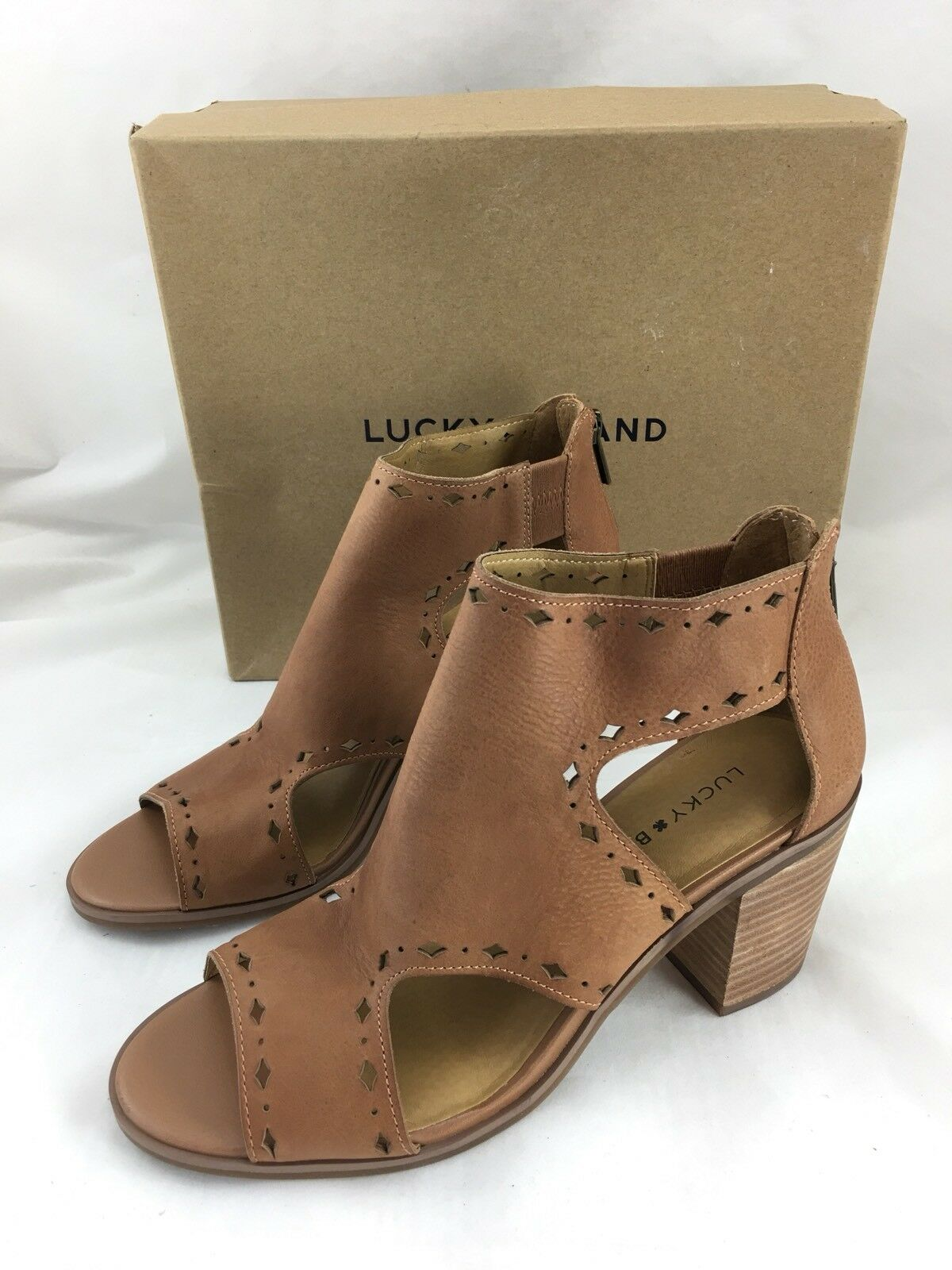 f4c5eac30b6 Lucky Brand Open Heeled Sandal Leather Sz 8.5 Toe Brown opqave2817-Women s  Sandals