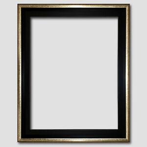 Schattenfugenrahmen-fuer-Leinwandbild-40x50-Schwarz-Gold-Silber-Holz-Bilderrahmen