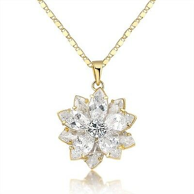 lotus flower pendant Austrian Crystal necklace cocktail jewelry gold tone N800
