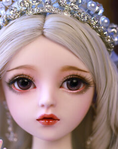 60cm 1//3 BJD Doll Girl Face Makeup Changeable Eyes Clothes Accessories Full Set