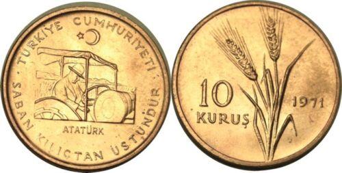 elf Turkey 10 Kurus 1971 Ataturk Tractor FAO