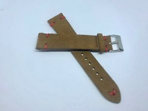 5653294c6da 02 Straps - Brown Vintage Suede Leather watch band strap 21mm Red ...